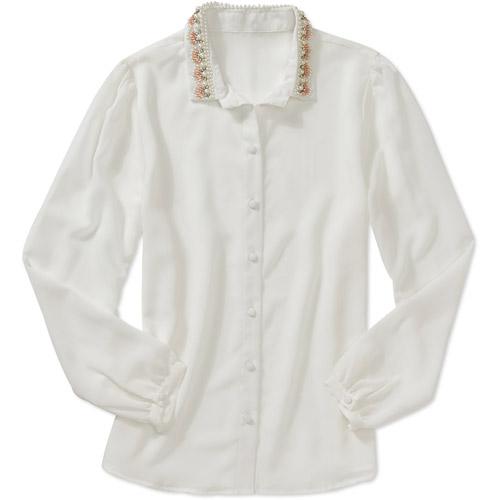 Brooke Leigh Women's Pearl Collar Sheer Blouse