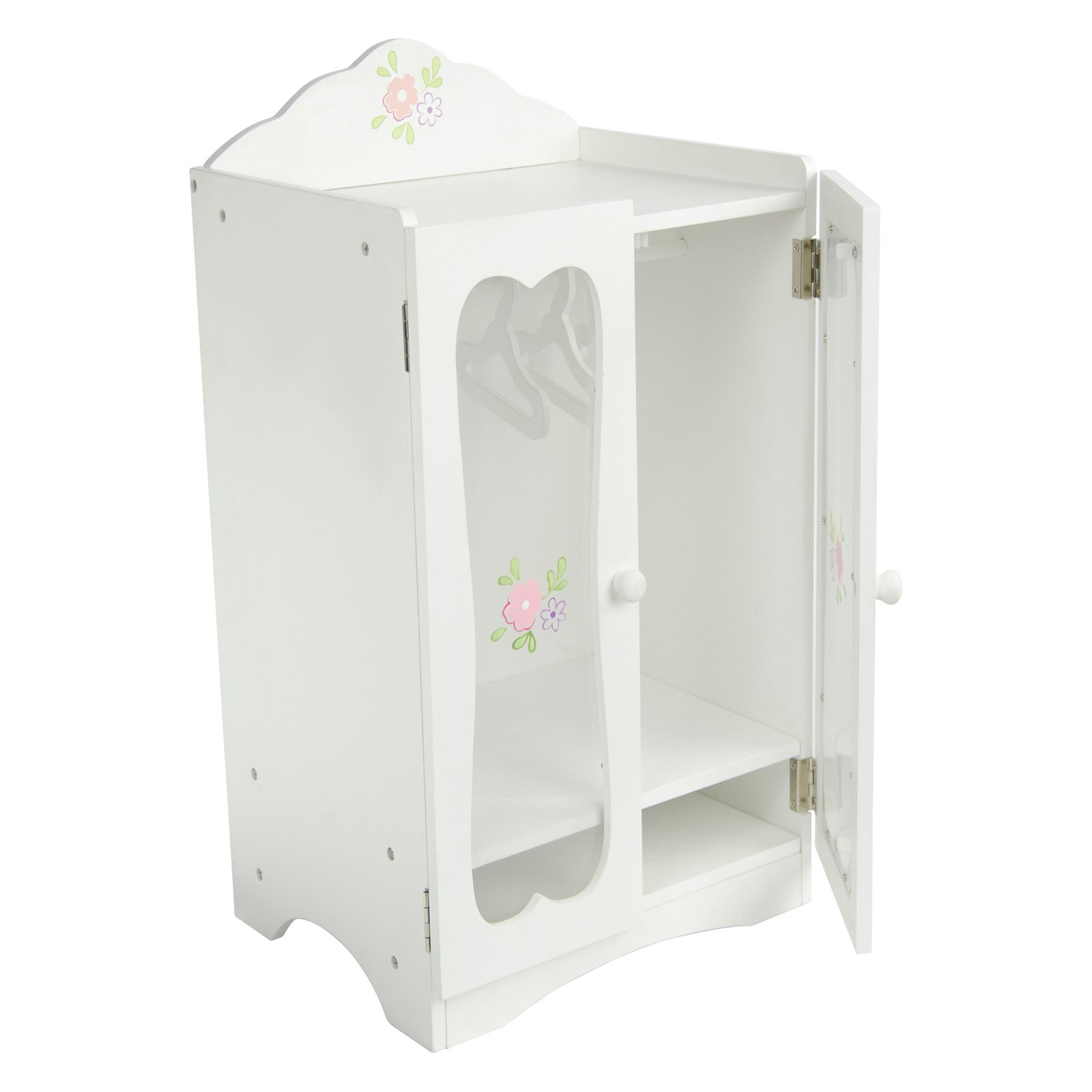Olivia's Little World Princess Classic Wooden Closet with 3 Hangers (White) Wooden 18 inch Doll Furniture by Teamson