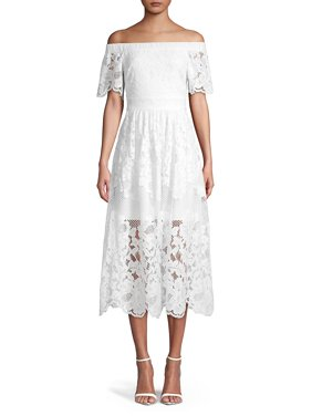 088227257dc3 Product Image Off-Shoulder Mixed-Lace Midi Dress