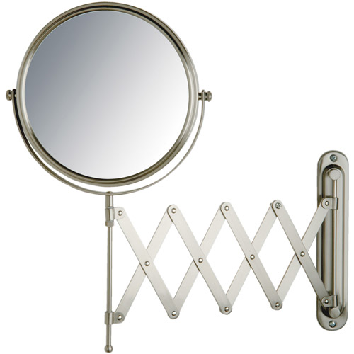 """Jerdon 8"""" 2-Sided Swivel Wall Mount Mirror with 7x Magnification, 20"""" Extension, Nickel"""