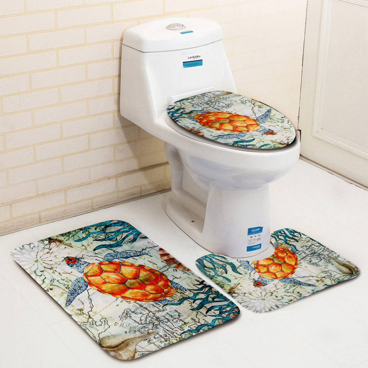 3Pcs Bathroom Non-Slip Tortoise Pattern Pedestal Rug+Lid Toilet Cover+Bath Mat