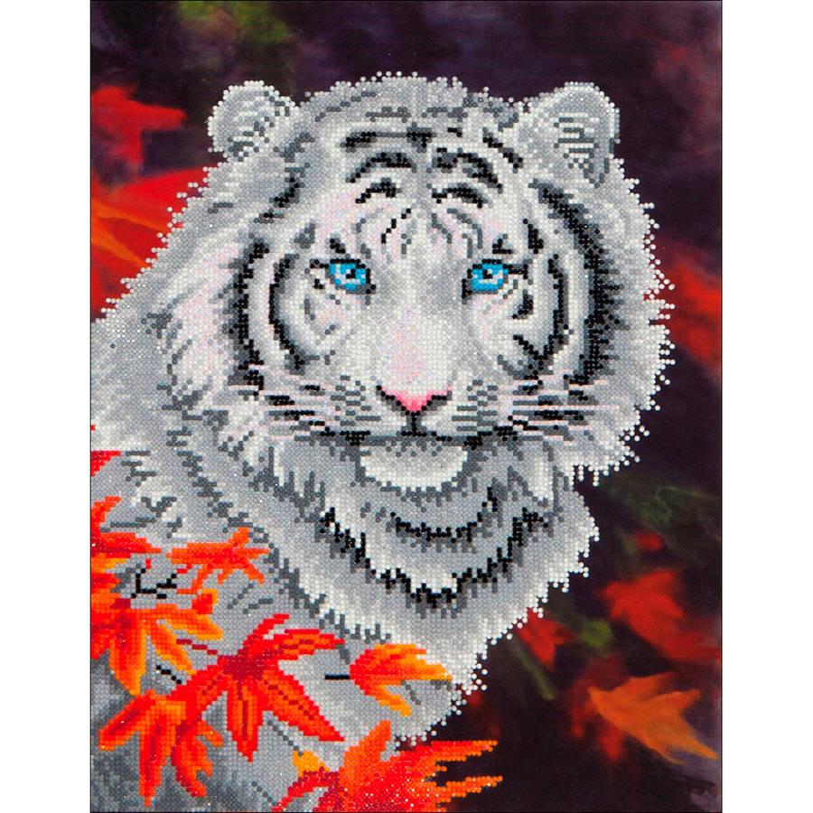 """Diamond Dotz Diamond Embroidery Facet Art Kit, 17.25"""" x 21.75"""", White Tiger In Autumn"""