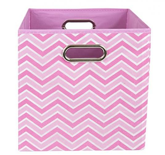 Modern Littles Rose Zig Zag Folding Storage Bin, Pink