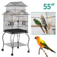 Rolling Large Metal Bird Cage w/Stand Black