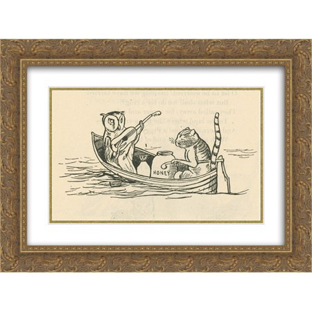 Edward Lear 2x Matted 24x20 Gold Ornate Framed Art Print 'The Owl and the Pussycat' (Edward The Owl)