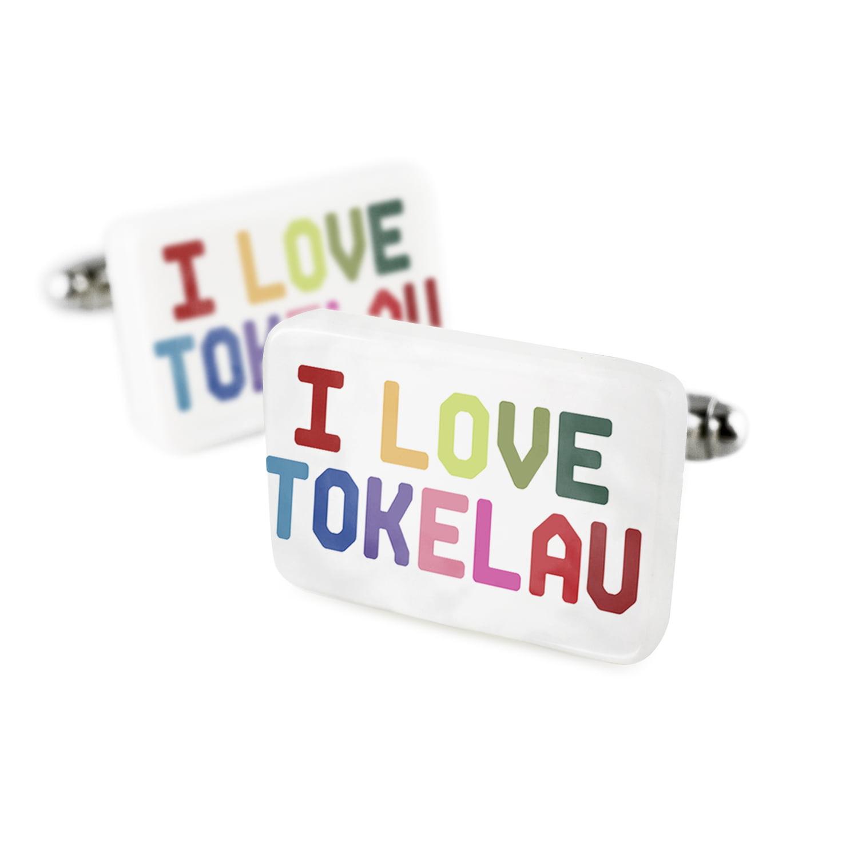 Cufflinks I Love Tokelau ,ColorfulPorcelain Ceramic NEONBLOND