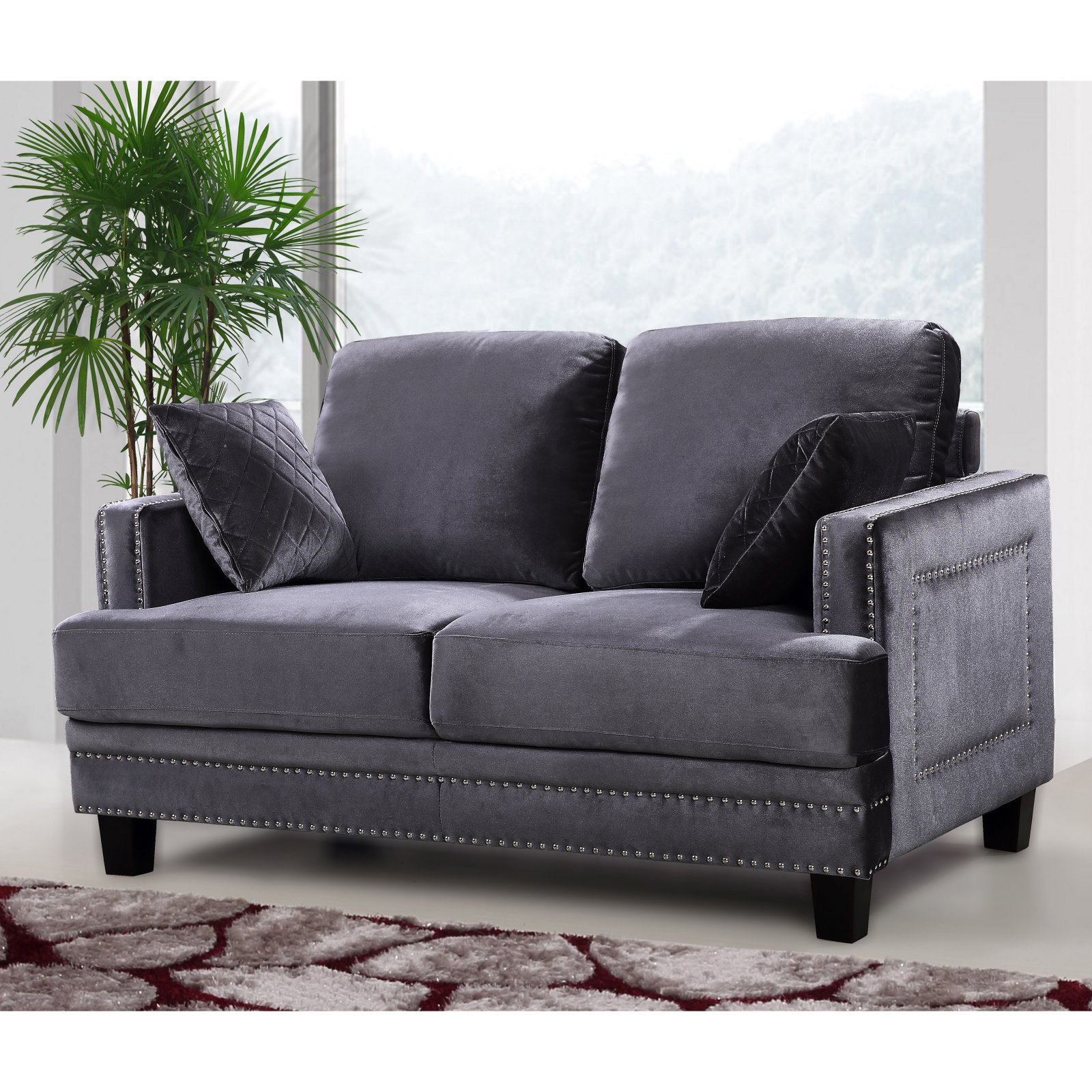 Meridian Furniture Inc Ferrara Loveseat with Toss Pillows