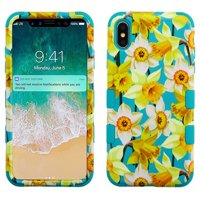 Apple iPhone Xs Max (6.5 in) Phone Case Tuff Hybrid Shockproof Impact Rubber Dual Layer Hard Soft Protective Hard Case Cover Spring Daffodils Phone Case for Apple iPhone Xs Max