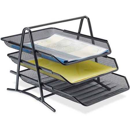 Lorell Steel Mesh 3 Tier Desk Tray