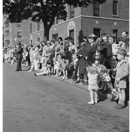 Crowds watching a parade in Brooklyn New York 1944 Poster Print by Stocktrek Images (Halloween Parade New York)