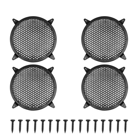 """4pcs 10"""" Black Round Car Speakers Cover Plastic Mesh Woofer Subwoofer Grill Protector"""