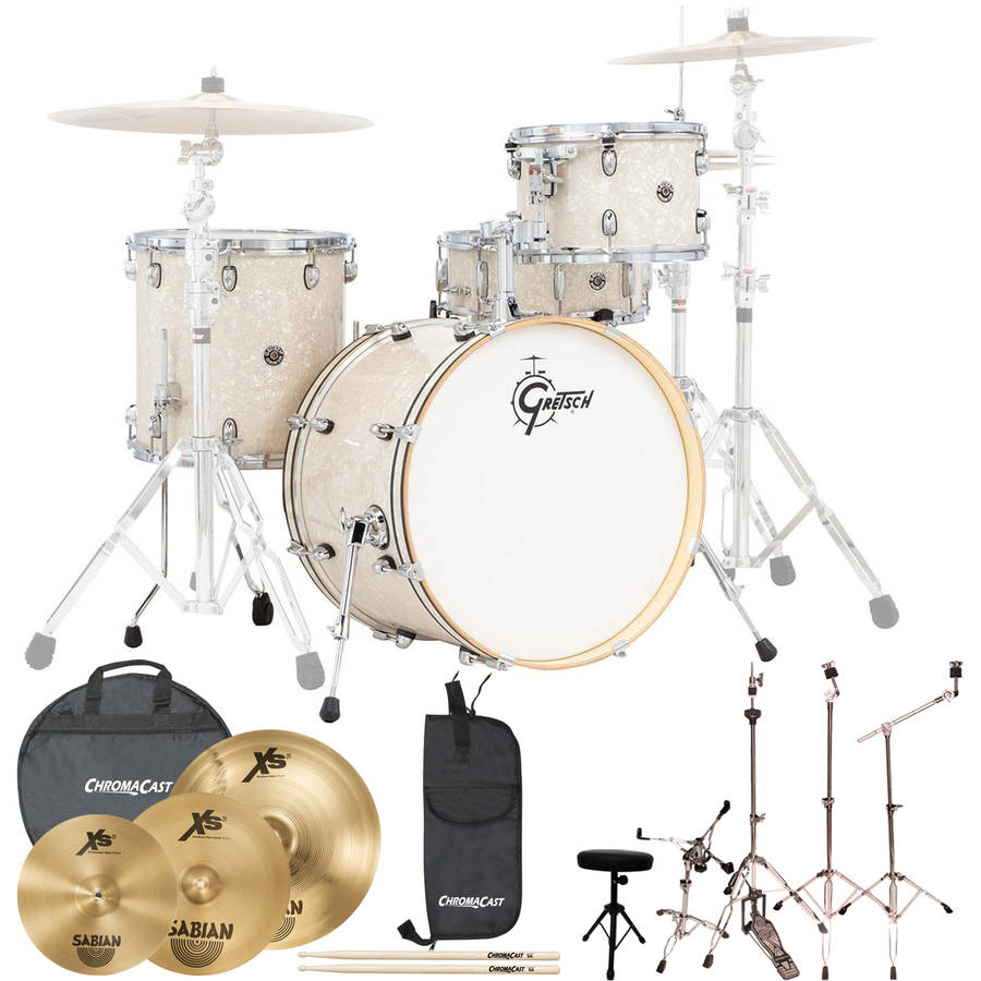 Gretsch Drums Rock Catalina Club 4 Piece Drum Shell Pro Pack with Sabian Performer Cymbal Set, ChromaCast Hardware and ChromaCast Accessories, Vintage Marine Pearl (Box 2 of 3)