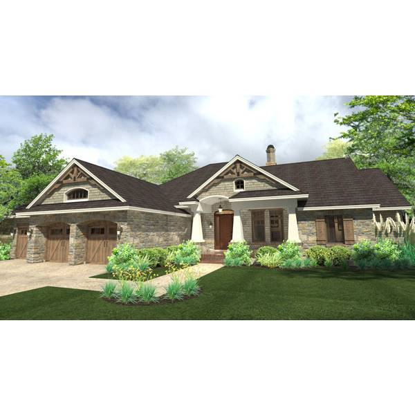TheHouseDesigners-9167 Large Craftsman Ranch House Plan with Slab Foundation (5 Set Package)