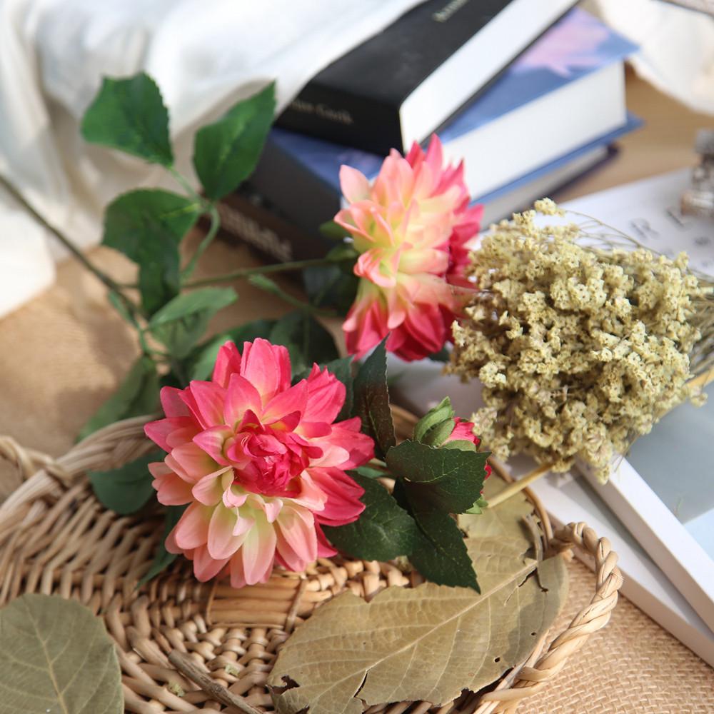 Mosunx Artificial Silk Fake Flower Dahlia Floral Wedding Bouquet Bridal Hydrangea I