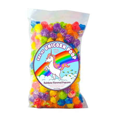 Bag of Unicorn Poop - Windy Pops Rainbow Flavored Popcorn - 7.5 Oz Bag of Glazed Popcorn Treat - Best Funny Gag Gift for Unicorn Lovers, Birthdays,