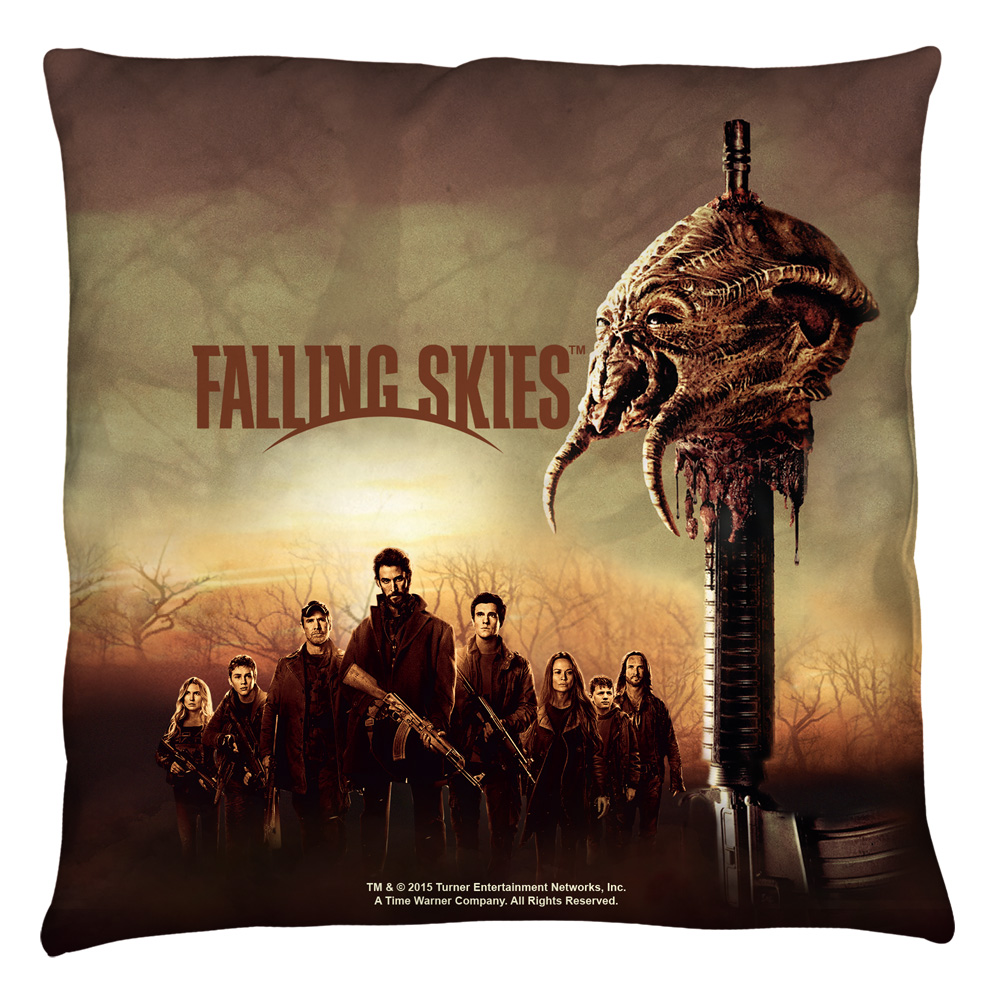 Falling Skies Skitter Head Throw Pillow White 14X14
