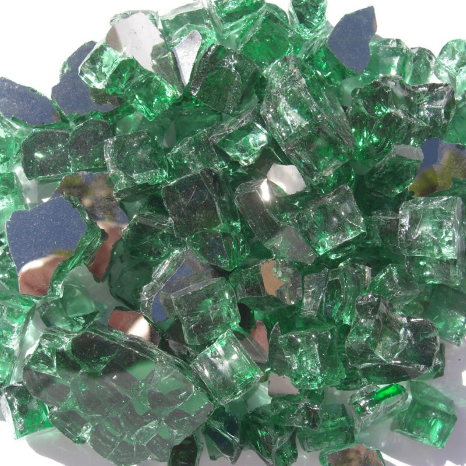 Tretco 0.5 in. Forest Green Reflective Fire Glass Crystals