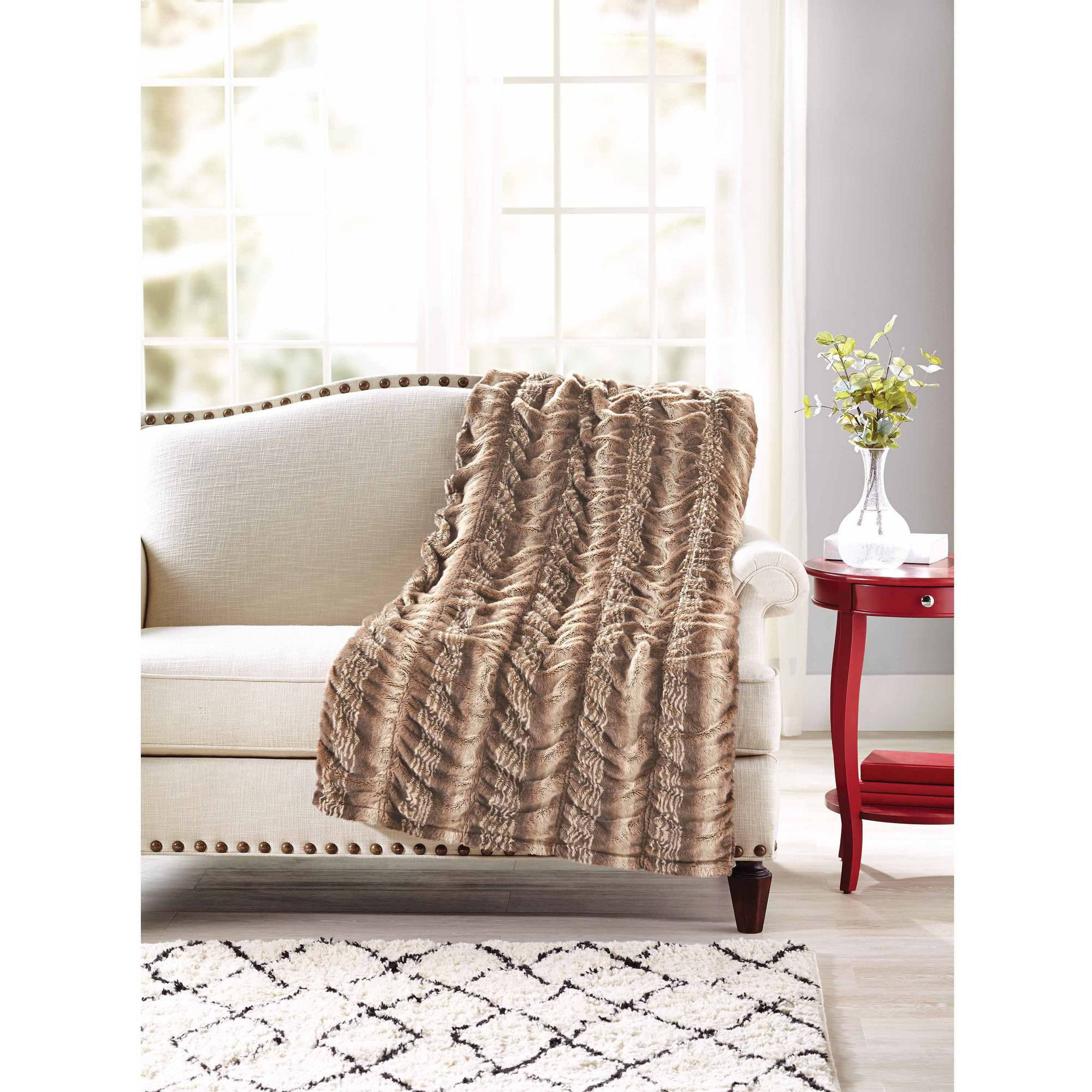 "Better Homes and Gardens 50"" x 60"" Luxe Faux Fur Throw"
