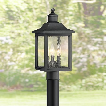 John Timberland Outdoor Post Light Fixture Mission Style Black 17 Clear Seedy Gl For Exterior Garden Yard Patio