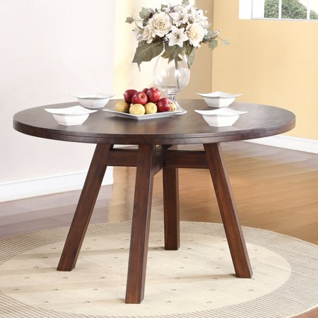 modus portland solid wood round dining table medium walnut. Black Bedroom Furniture Sets. Home Design Ideas