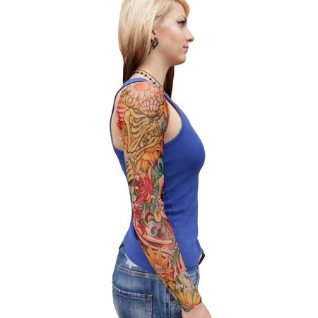 Skull And Roses Tattoo Sleeve (Wild Rose Ladies Tattoo Shrug Sugar SKull Skeleton Sleeves, Day of the Dead,)