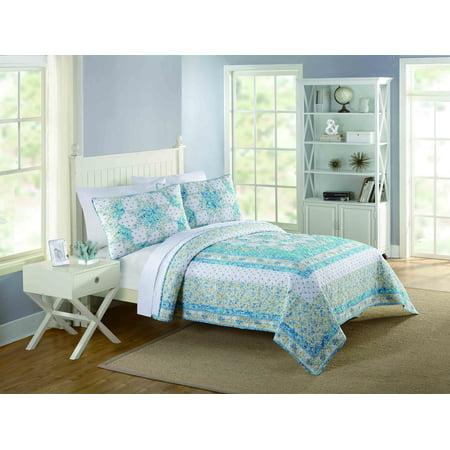 Better homes and gardens full/queen polka dot patchwork quilt, Queen Blue/Silver