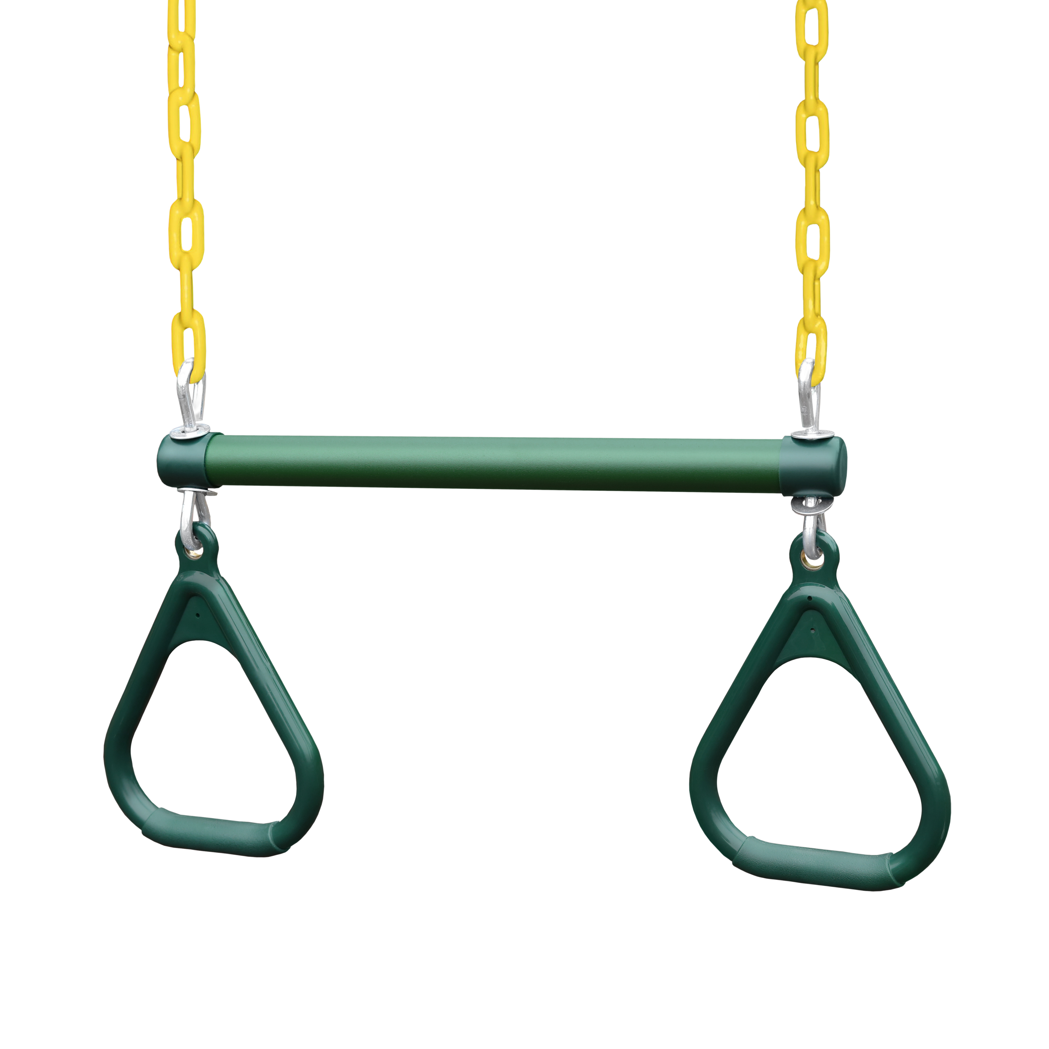 "Gorilla Playsets 17"" Trapeze Bar with Green Rings and Yellow Chains"