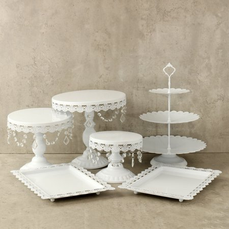 Crystal Cake Platter - Crystal Metal Cake Holder Cupcake Stand and Towers Dessert Display Stand for Birthday Wedding Parties