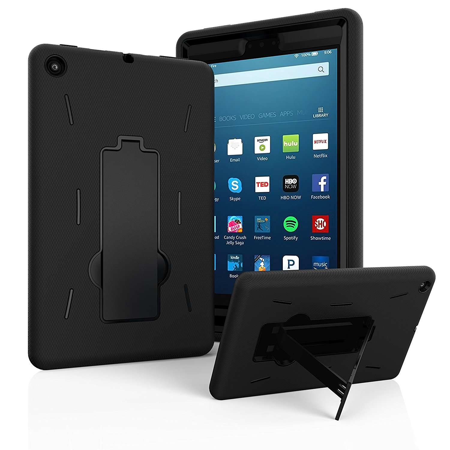 "Fire HD 8 Case 2017, EpicGadget(TM) 2017 7th Generation Amazon Fire HD 8"" Heavy Duty Hybrid Case Full Body Cover with Kickstand For Fire HD 8"" Display + 1 Fire 8 HD Screen Protector (Black/Black)"