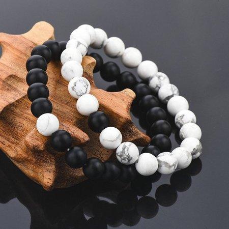 Girl12Queen 2Pcs Unisex Distance Bracelet Couple His Hers Black Matte Beads White Howlite