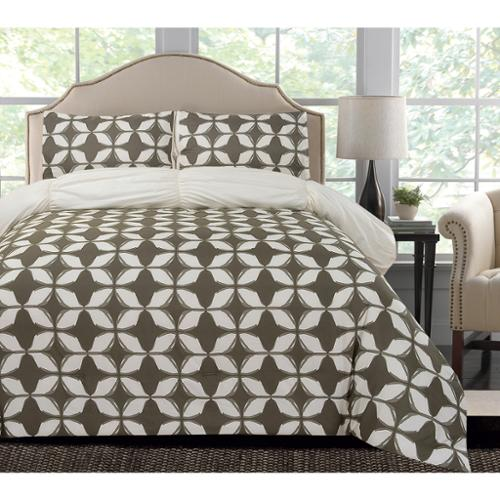 Thro by Marlo Lorenz Taylor Geo Printed Reversible 3-piece Comforter Set King Charcoal Gray