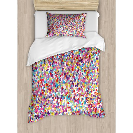 Fiesta Duvet Cover Set, Round Rainbow Colored Confetti Pattern Celebratory Festive Illustration Abstract, Decorative Bedding Set with Pillow Shams, Multicolor, by Ambesonne ()