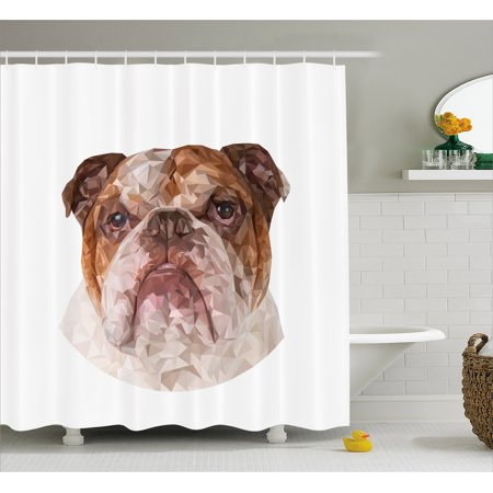 English Bulldog Shower Curtain Polygonal Design With Geometric Triangles Abstract Animal Drawing Fabric