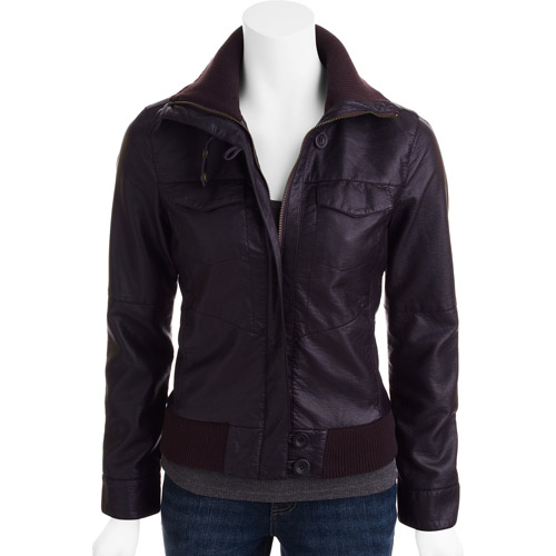 Womens Faux Leather Bomber Jacket 3PNYeo