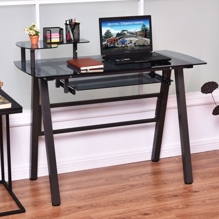 Flip Top Computer Table (Costway Glass Top Computer Desk PC Laptop Table Workstation Metal Frame w/Printer Shelf )
