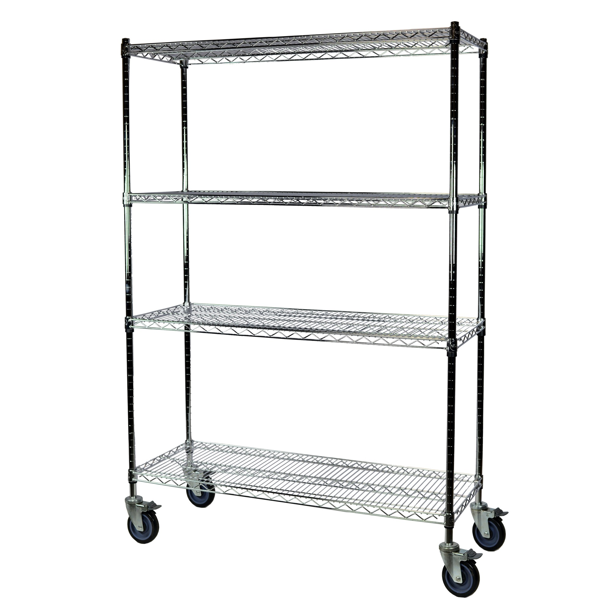 Storage Max Chrome Wire Shelving with Wheels, 24 x 36 x 74, 4 Shelves