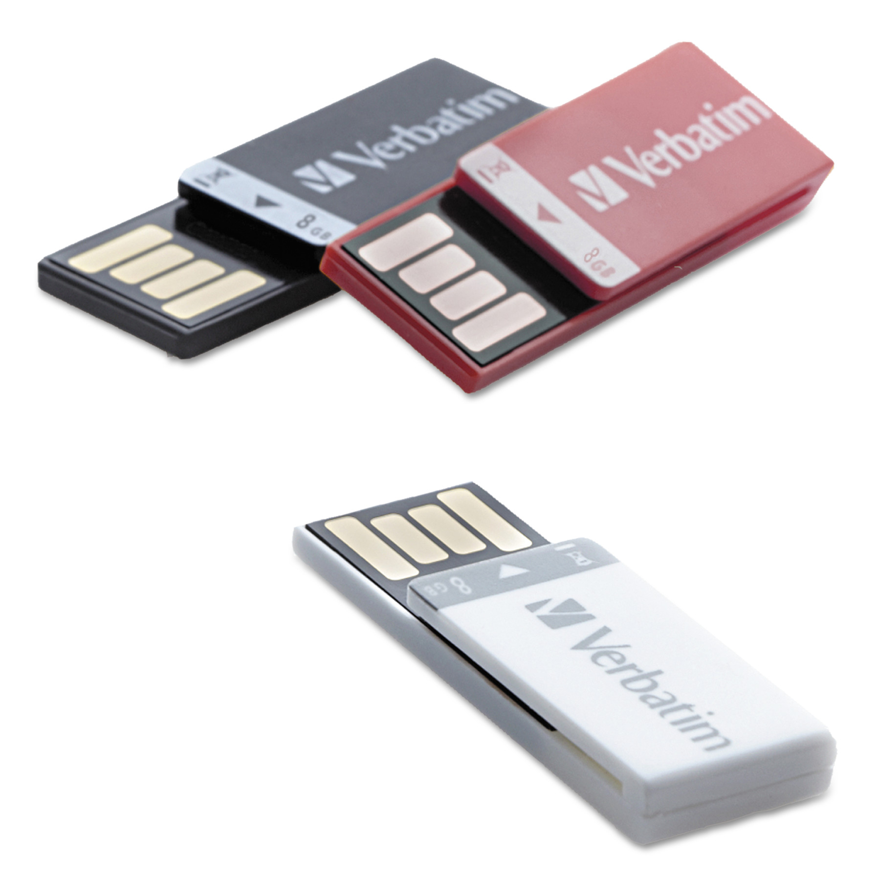 Verbatim Clip-it USB 2.0 Flash Drive, 8GB, Black/Red/White, 3/Pack -VER98674