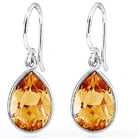 Pear Shape Citrine Earrings (Genuine 3.0 Carat T.G.W. Citrine Sterling Silver Pear-Shape Drop)