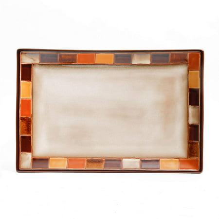 Gibson Elite Casa Estebana 16 Inch Stoneware Rectangular Serving Platter ()