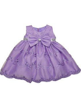 fc5f0db416 Product Image Baby Girls Lilac Glitter Sequin Bow Embroidered Flower Girl  Dress