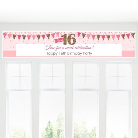 Sweet 16 - 16th Birthday Decorations Party Banner for $<!---->