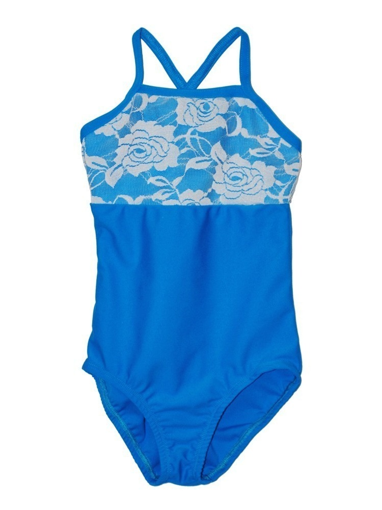 Girls Turquoise Rose Lace Detail Camisole Dancewear Leotard