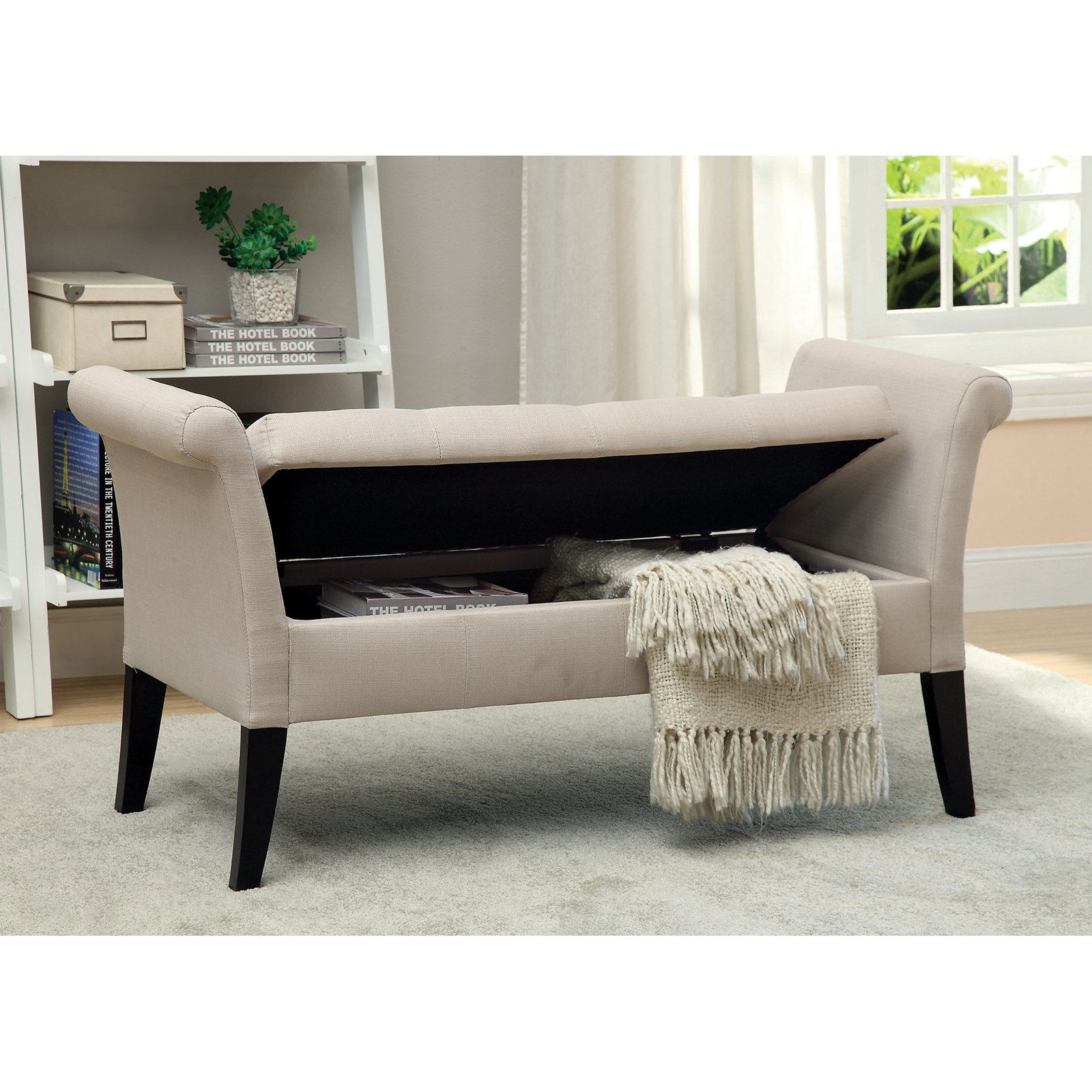 Pleasant Furniture Of America Alistar Fabric Upholstered Storage Accent Bench Dailytribune Chair Design For Home Dailytribuneorg