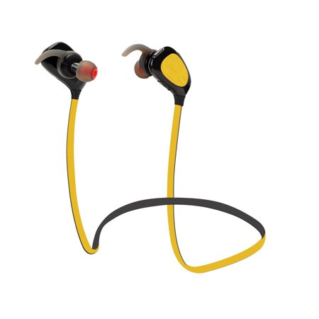 Zero Bluetooth Headphones QY4 V4.1 Wireless Sport Stereo APT-X Codec In-Ear Noise Cancelling Sweatproof Headset with HD Sound/Mic for iPhone 6s Plus Samsung Galaxy S6 S5 and Android Phones (Yellow)