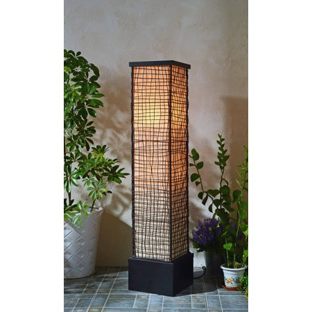 Kenroy Home All-Weather Rectangular Outdoor Floor Lamp, Black Finish, Woven Outer Mesh Shade, Cream Inner Shade, 3-Way Lighting, Waterproof Push Button Switch ()