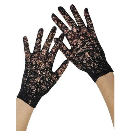 Womens Black Vintage Lace Fancy Wedding Wrist Gloves](Black Gloves Fancy Dress)