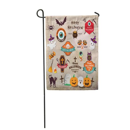 LADDKE Pumpkin Happy Halloween Badges Labels and Vintage Horror Treat Garden Flag Decorative Flag House Banner 12x18 inch](Happy Tree Friends Halloween Horror)