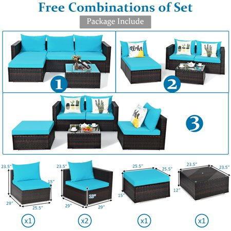 Gymax 5PCS Cushioned Rattan Patio Conversation Set w/ Coffee Table Ottoman - image 5 of 10