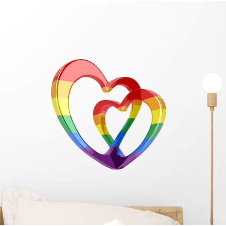 Intertwining Rainbow Hearts Wall Decal Wallmonkeys Peel and Stick Decals for Girls (12 in W x 10 in H) WM502572