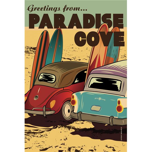 Toland Home Garden 1010902 Surf Paradise Cove House Flag 28 x 40 in. by Toland Home Garden